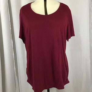 Danskin Now Red Rouched Loose Top 3X